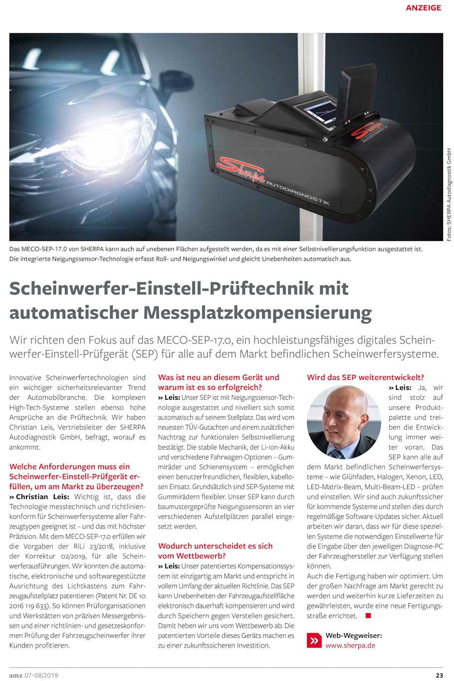 Scheinwerfereinstellgerät MECO-SEP-17.0