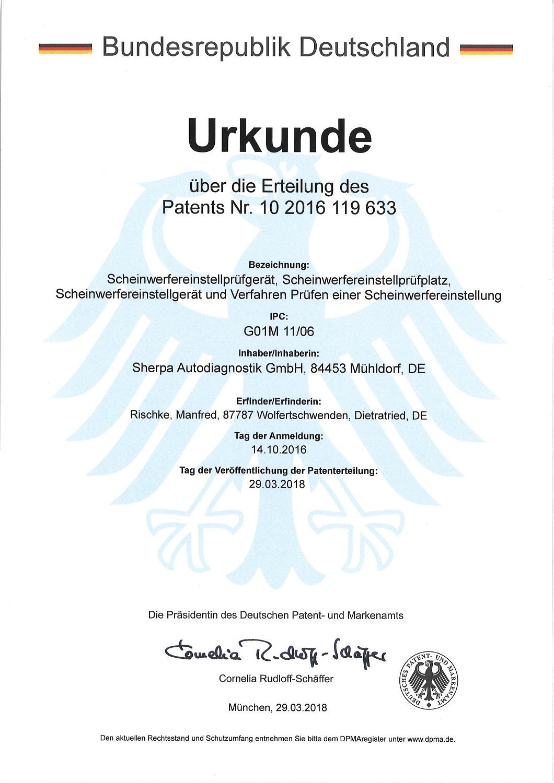Scheinwerfereinstellgerät MECO-SEP-17.0 Patenturkunde