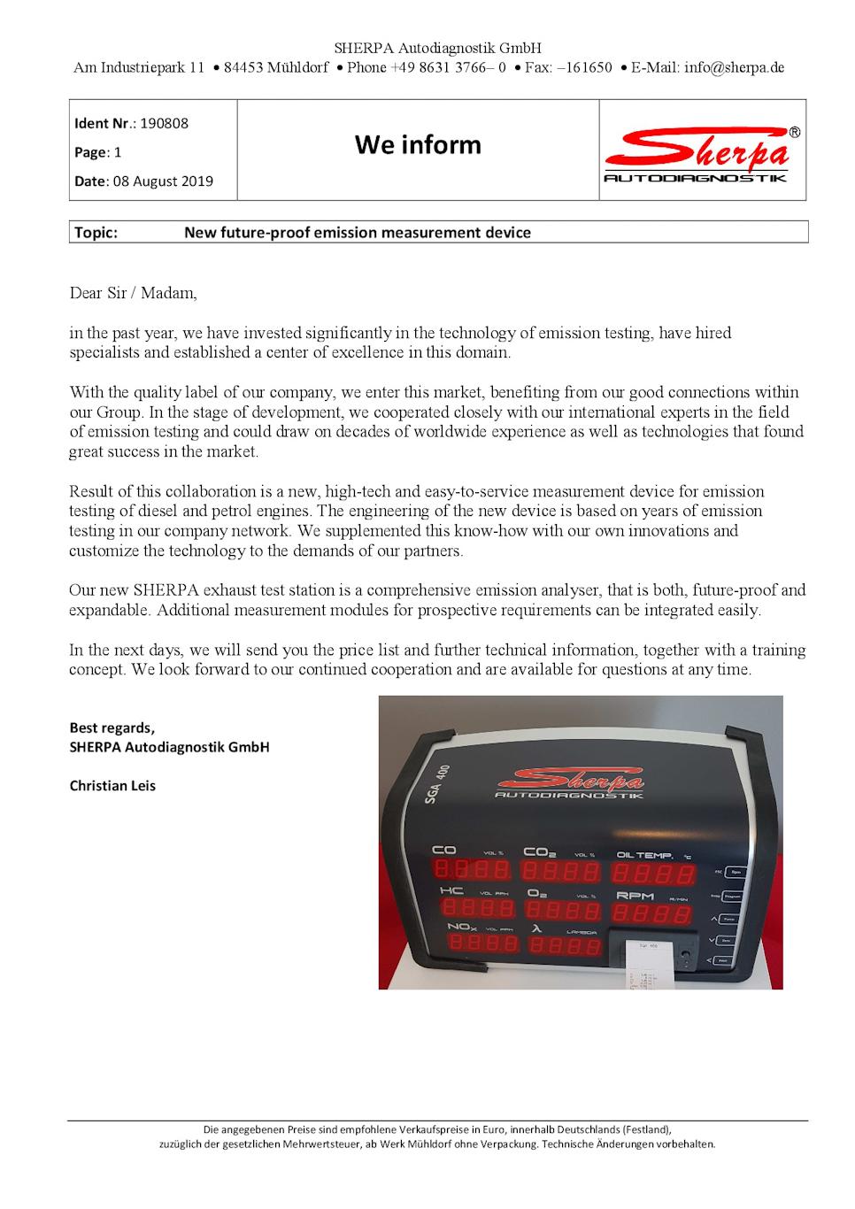Sherpa Emission Tester