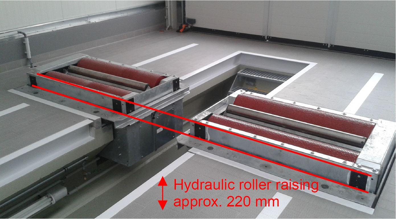 Hydraulic roller raising for truck brake tester